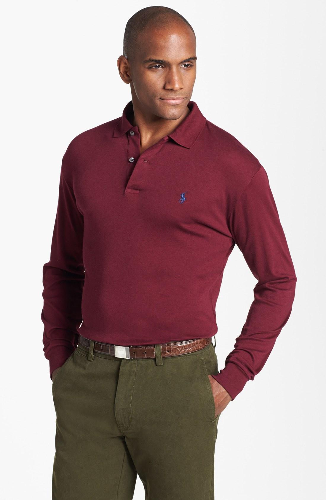 Ralph Lauren Wine Red Soft Mesh Men Sweaters