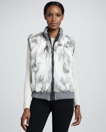 Pologeorgis Knittrim Rabbit Fur Vest Gray - Lyst