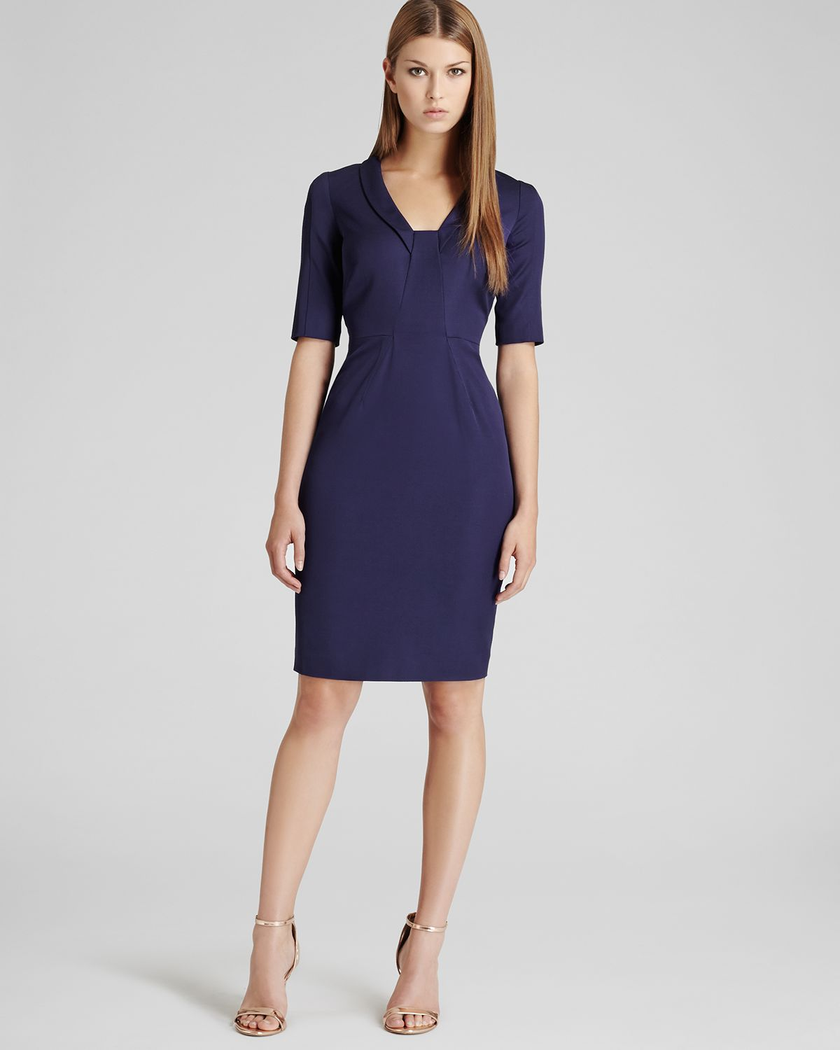 lyst reiss dress angel fitted panel in blue