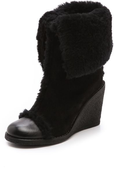 see by chlo 233 fur lined suede wedge boots in black nero
