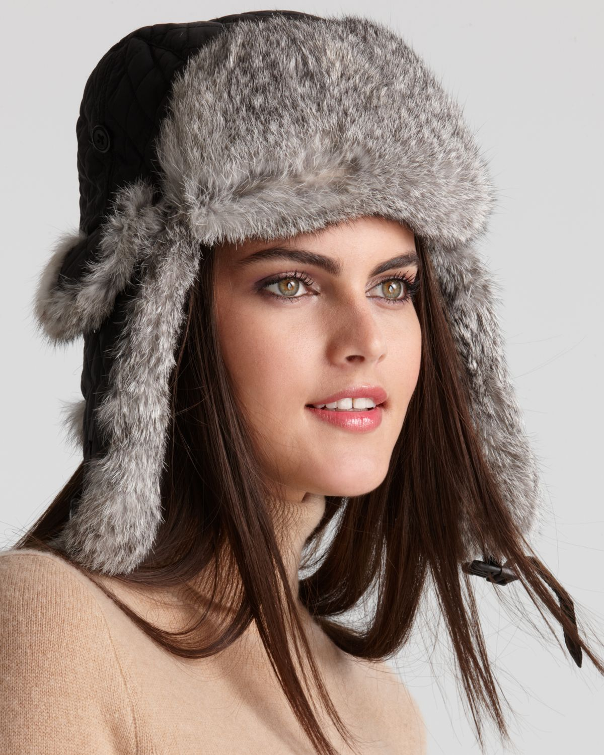 e536e9dff5c Surell Rabbit Fur Aviator Hat in Gray - Lyst