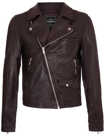 Topman Burgduny Leather Biker Jacket - Lyst