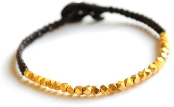 Vivien Frank Designs Facetted Gold Vermeil On Waxed Cord Bracelet - Lyst