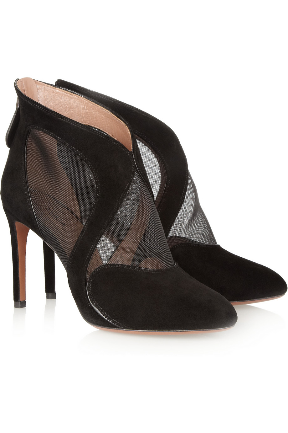 Ala 239 A Suede And Mesh Ankle Boots In Black Lyst