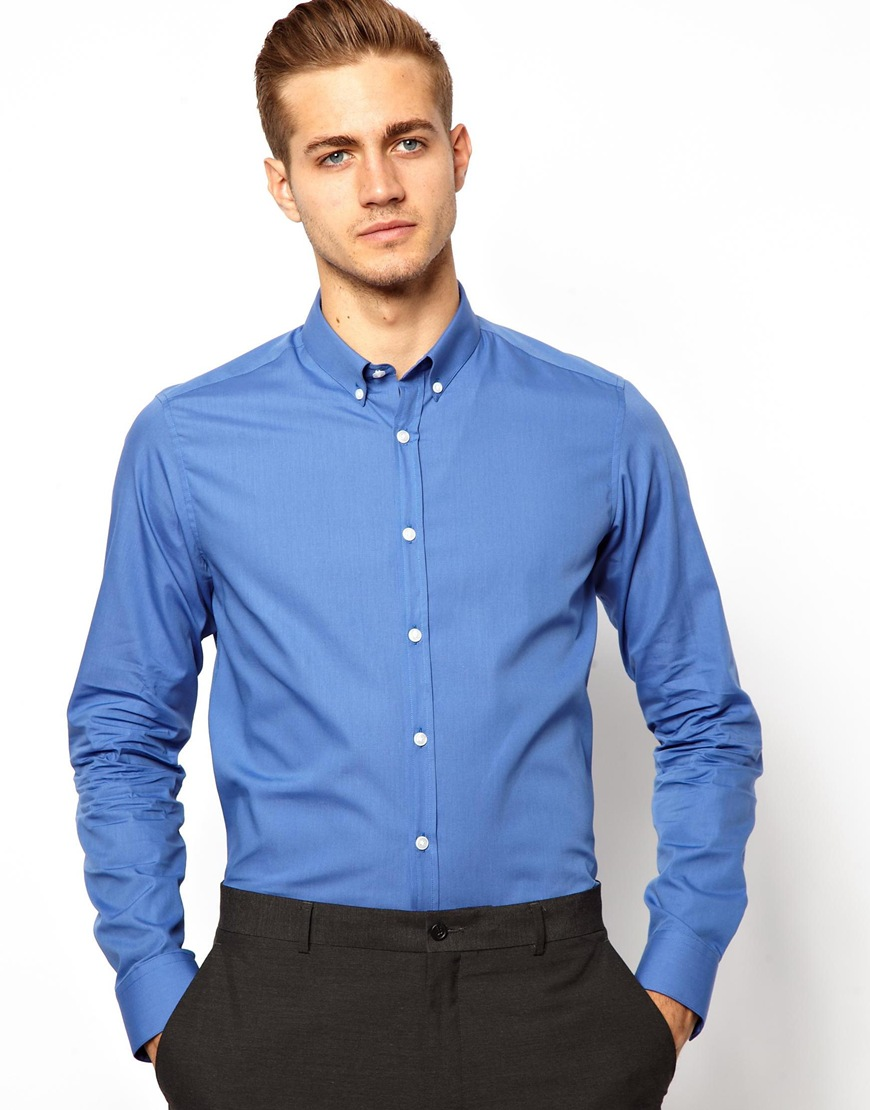 Asos smart shirt with button down collar in blue for men for Mens button collar shirts