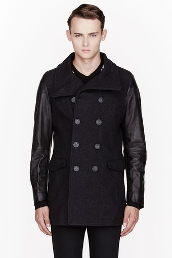 Diesel Charcoal Grey Wool and Leather Rondel Peacoat - Lyst