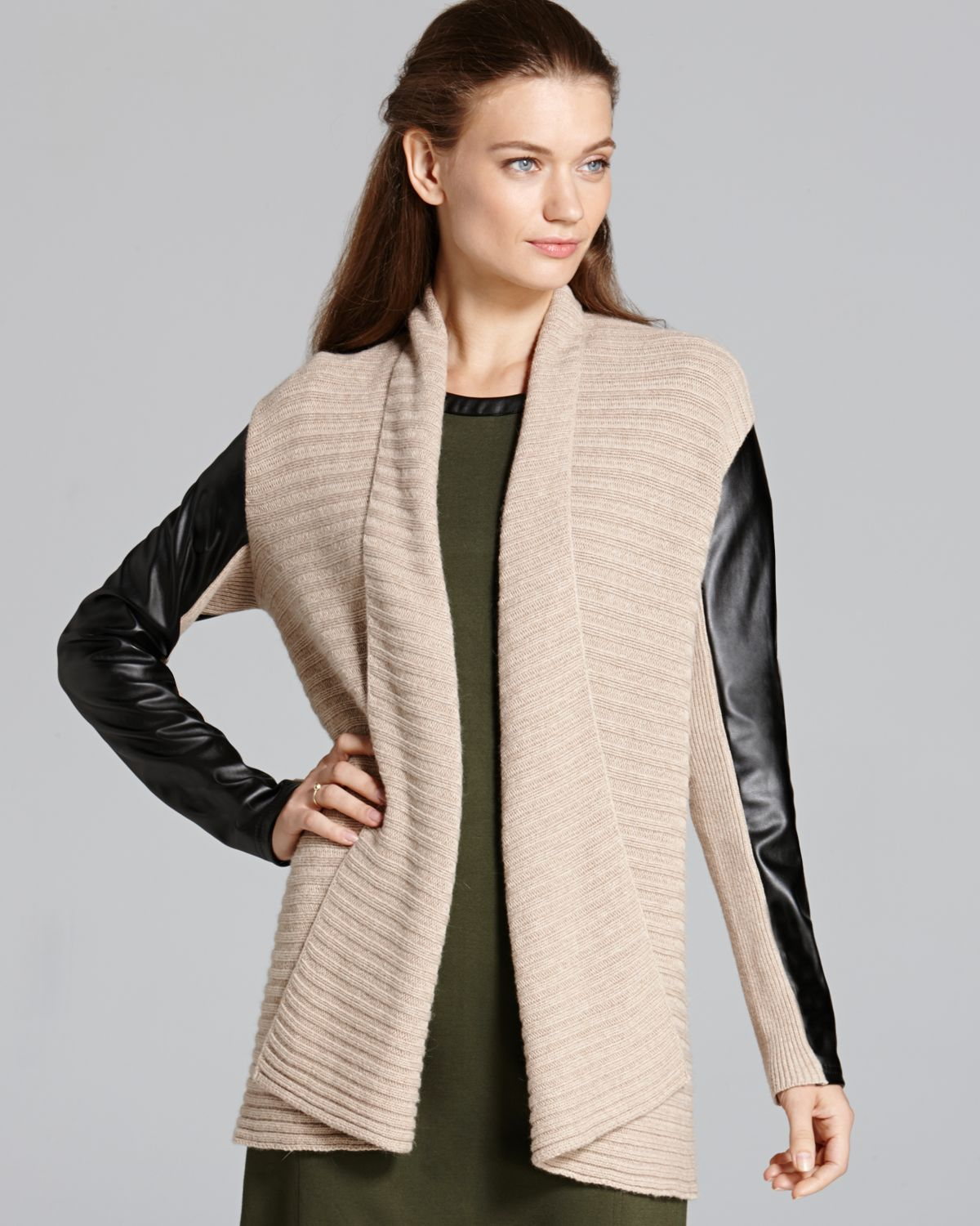 Lyst Dkny Cozy Cardigan With Faux Leather Sleeves In Natural