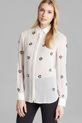 DKNY Embellished Button Through Blouse - Lyst