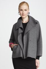 Eileen Fisher Wool Shawl Coat - Lyst