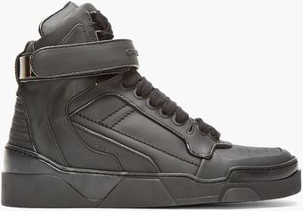 Givenchy Black Matte Leather Paneled High_top Sneakers - Lyst