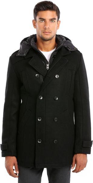 Guess Sky Melton Coat In Black For Men Lyst