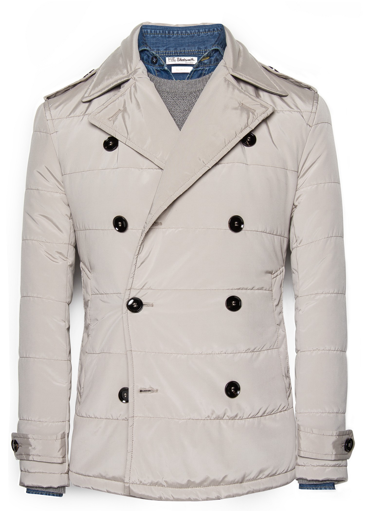 Mango Quilted Peacoat in Gray for Men | Lyst : quilted pea coat - Adamdwight.com