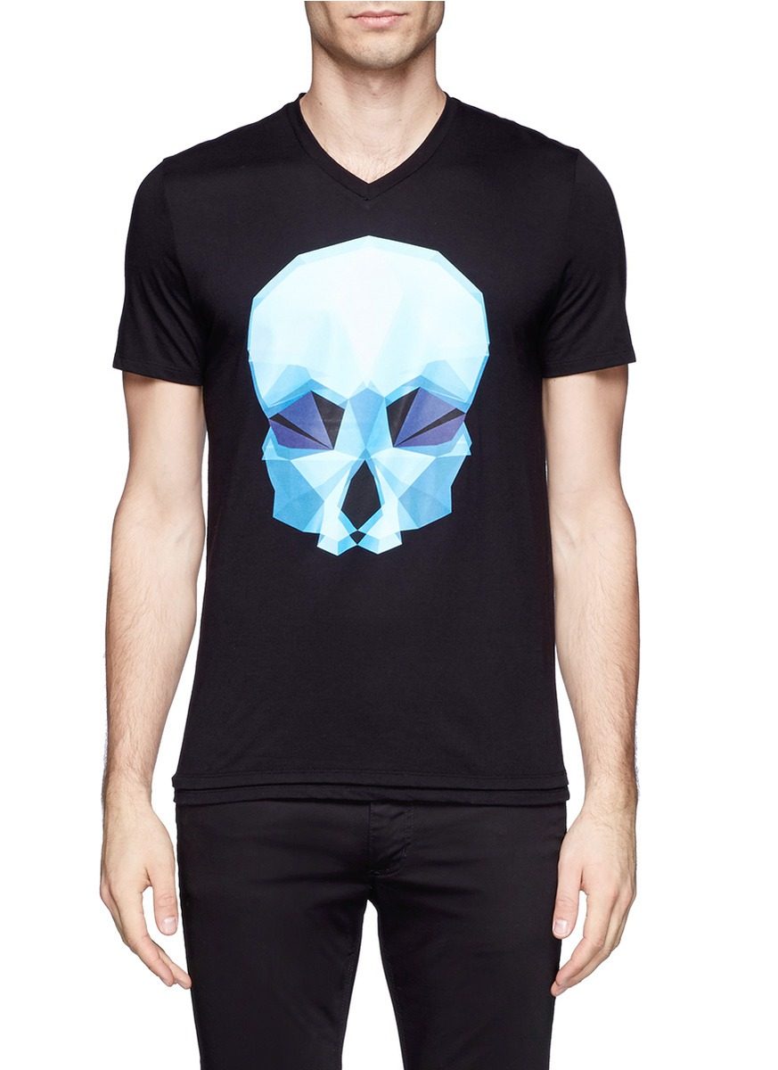 Neil barrett Geometric Skull Printed T-shirt in Black for ...