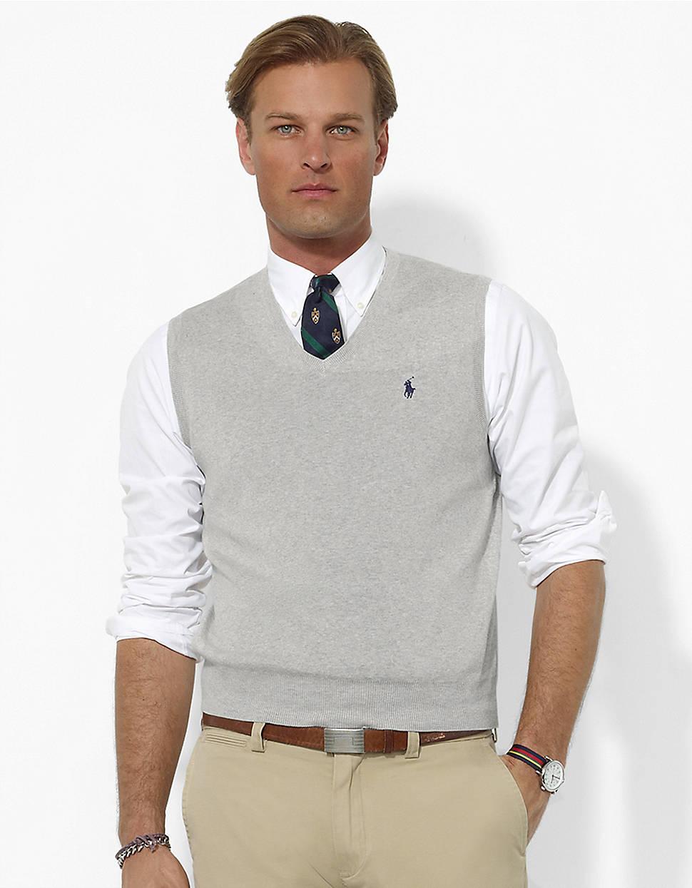 Polo ralph lauren Pima Cotton Vneck Sweater Vest in Gray for Men ...