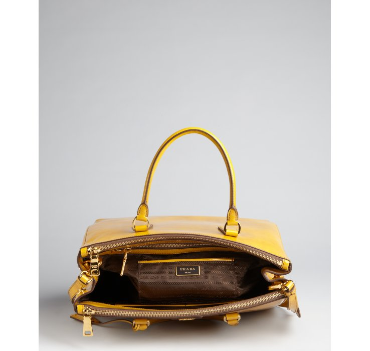 Prada Yellow Patent Leather Spazzolato Convertible Satchel in ...