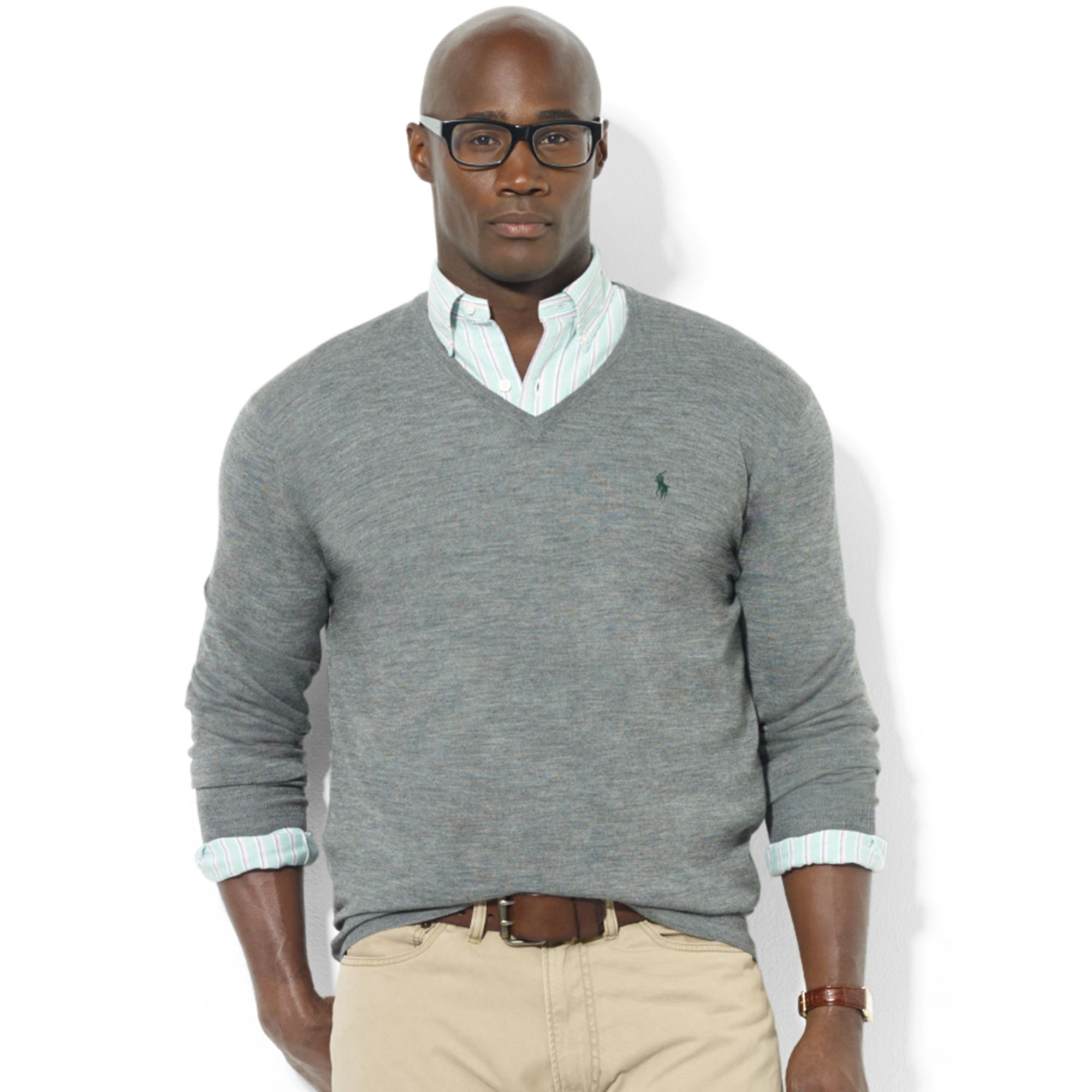 Ralph lauren Vneck Merino Wool Sweater in Gray for Men | Lyst