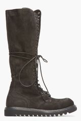 Rick Owens Black Nubuck and Leather Knee High Lace_up Combat Boots - Lyst