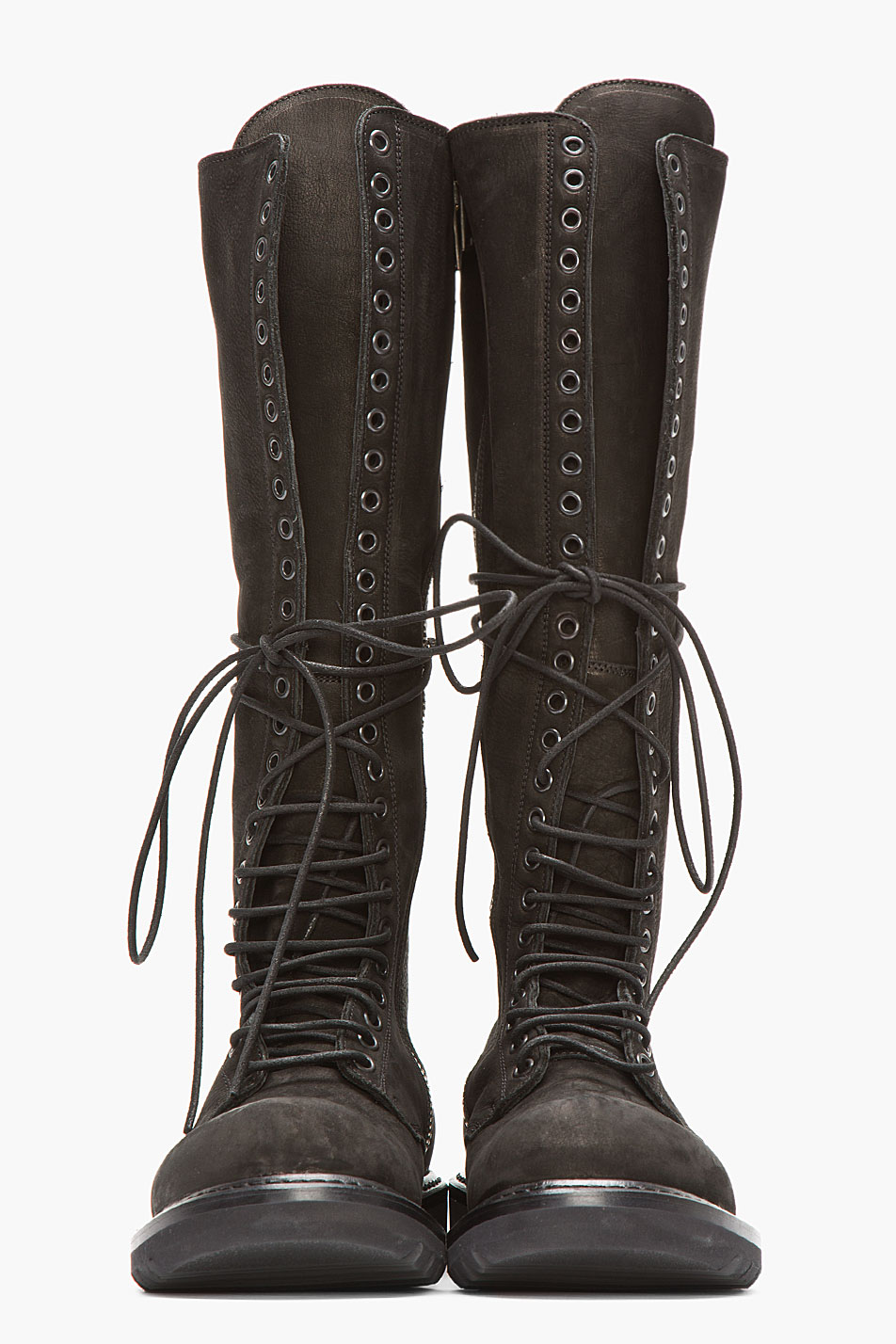 Rick owens Black Nubuck and Leather Knee High Lace_up Combat Boots ...