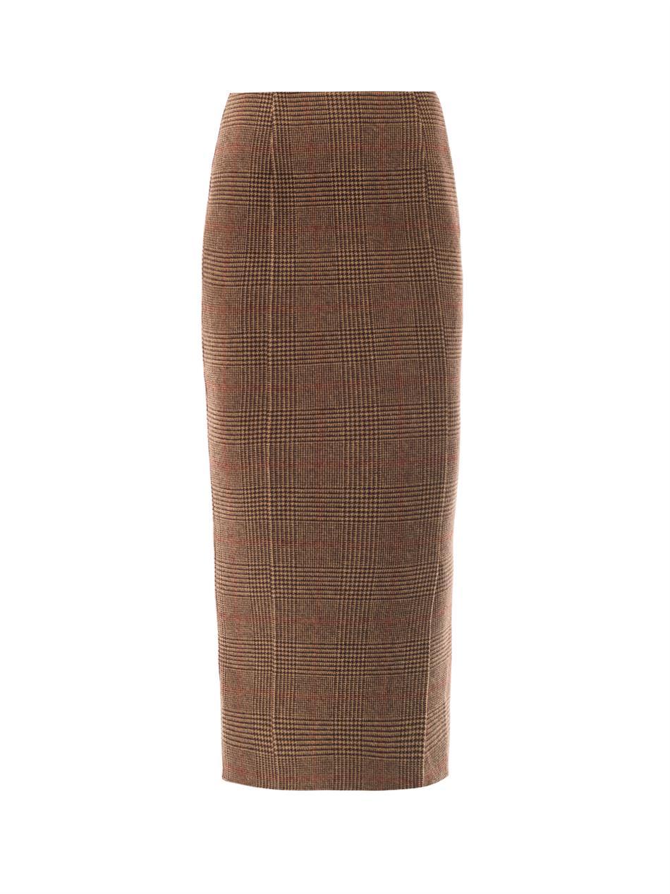 Rochas Tweed Pencil Skirt in Brown | Lyst