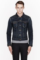 Saint Laurent Dark Blue Dead Rat Denim Jacket - Lyst