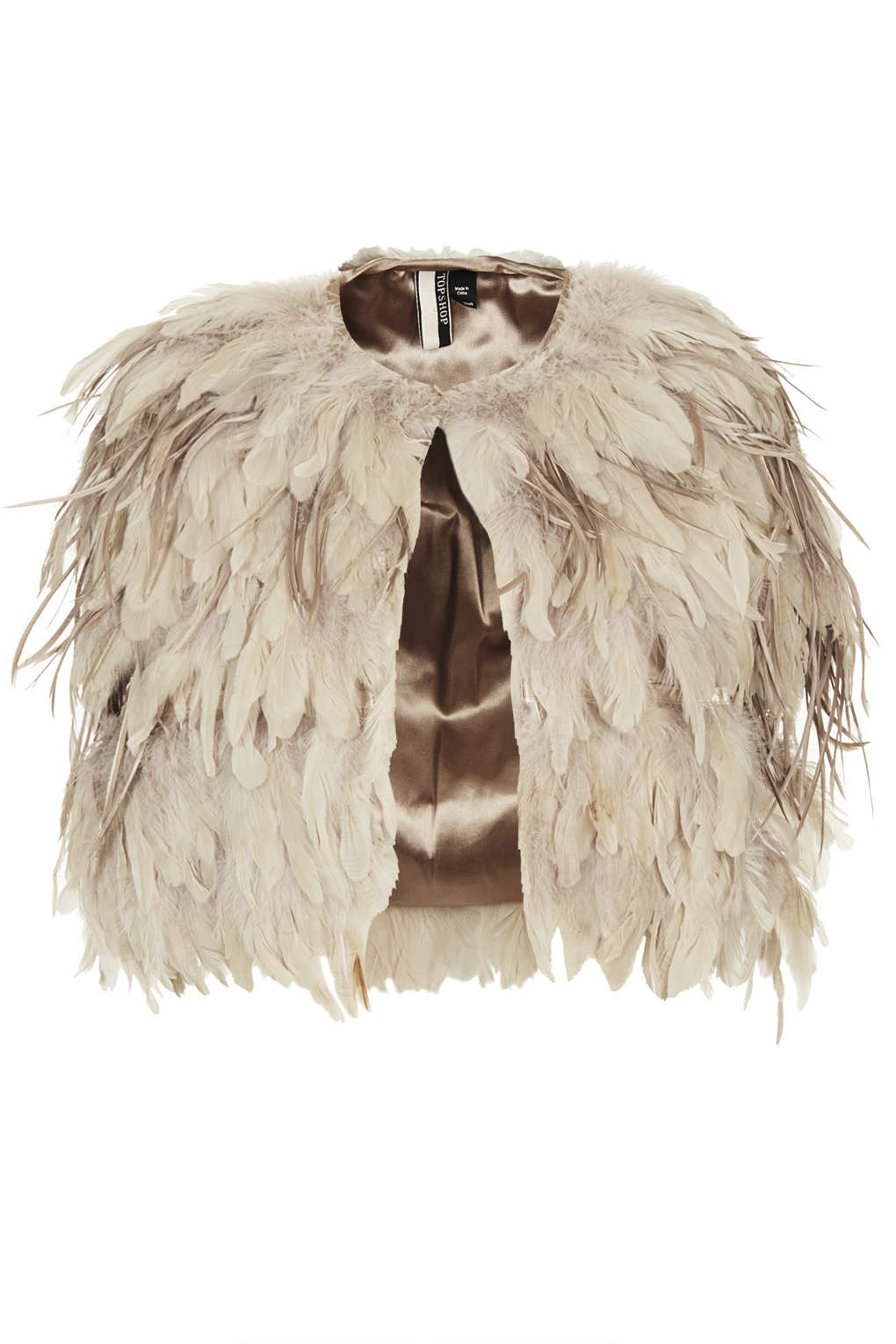 Topshop Feather Mix Cape In Beige Nude Lyst