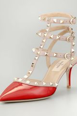 Valentino Rockstud Patent Leather Sandal Red - Lyst