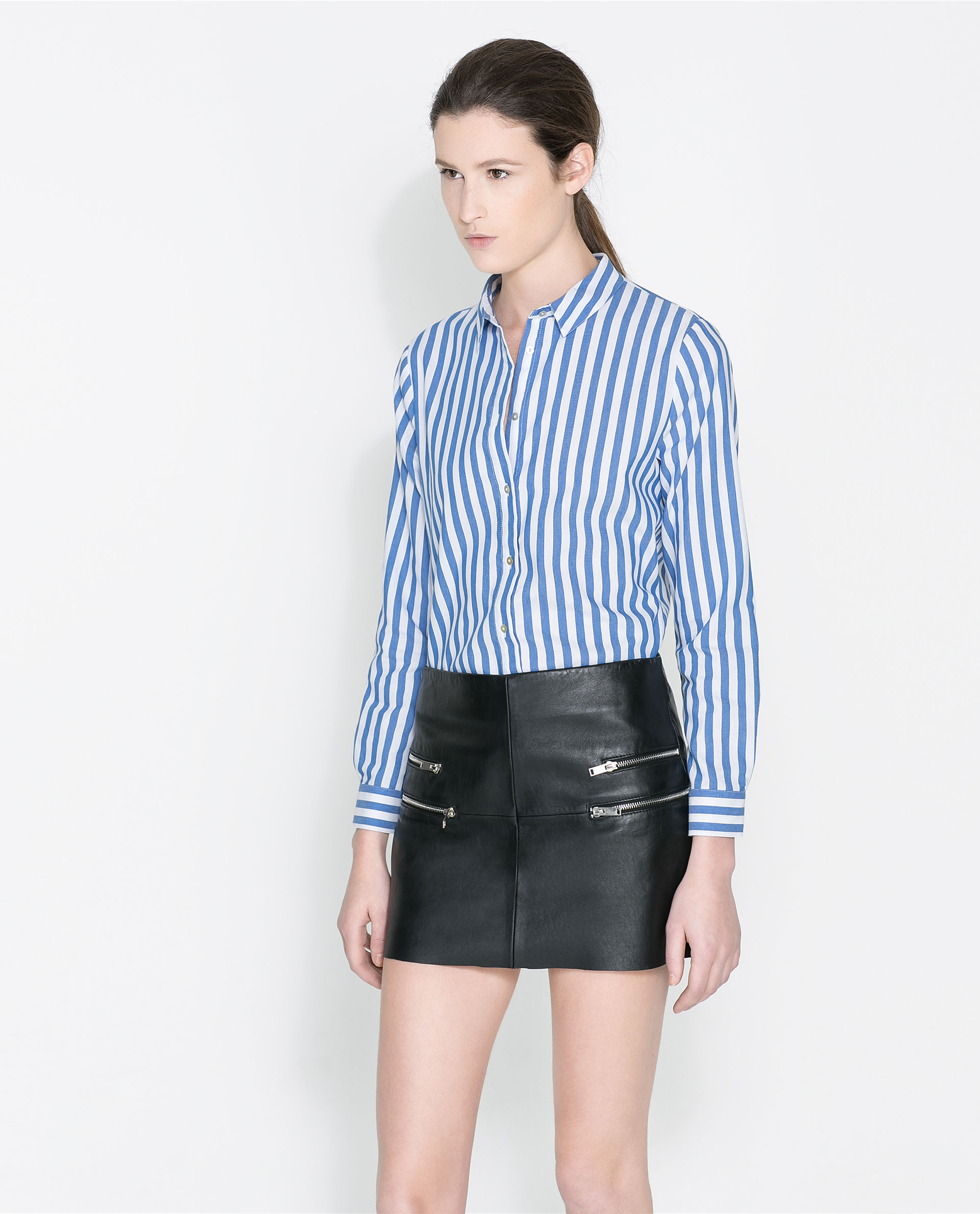 Blue striped blouse fashion ql for Blue and white striped shirt with white collar