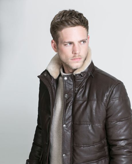 Zara Faux Leather Jacket with Fur Collar in Brown for Men   Lyst