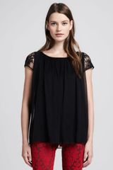 Alice + Olivia Alice Olivia Pimmy Lace-sleeve Top - Lyst
