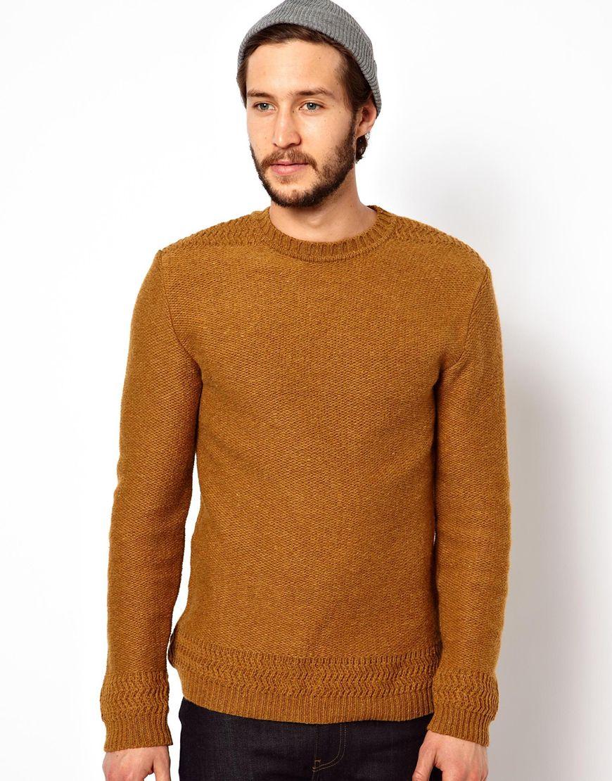 Lyst Edwin Crew Neck Sweater Docker Knit In Brown For Men