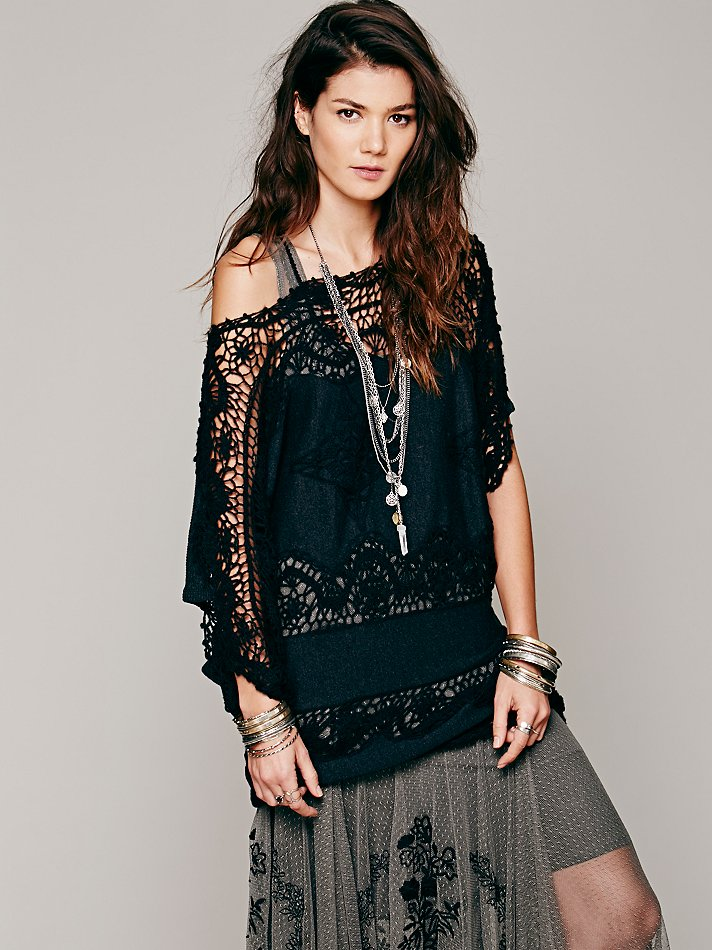 Free people Fp New Romantics Simply Lace Sweater Tunic in Black | Lyst