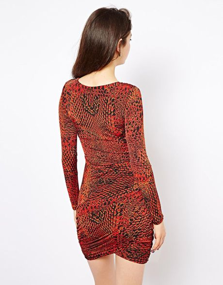 House Of Dereon Printed Wrap Dress In Red Lyst