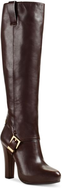 Michael Kors Tamara High Heel Dress Boots in Brown (Coffee Leather)