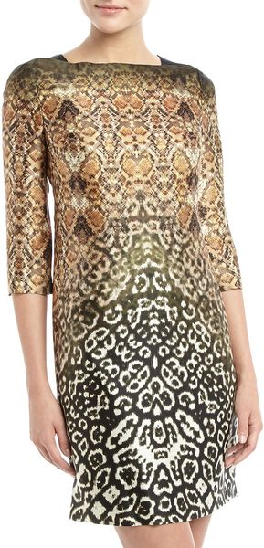 Muse Back Zip Mixed Animalprint Sheath Dress Multicolor - Lyst