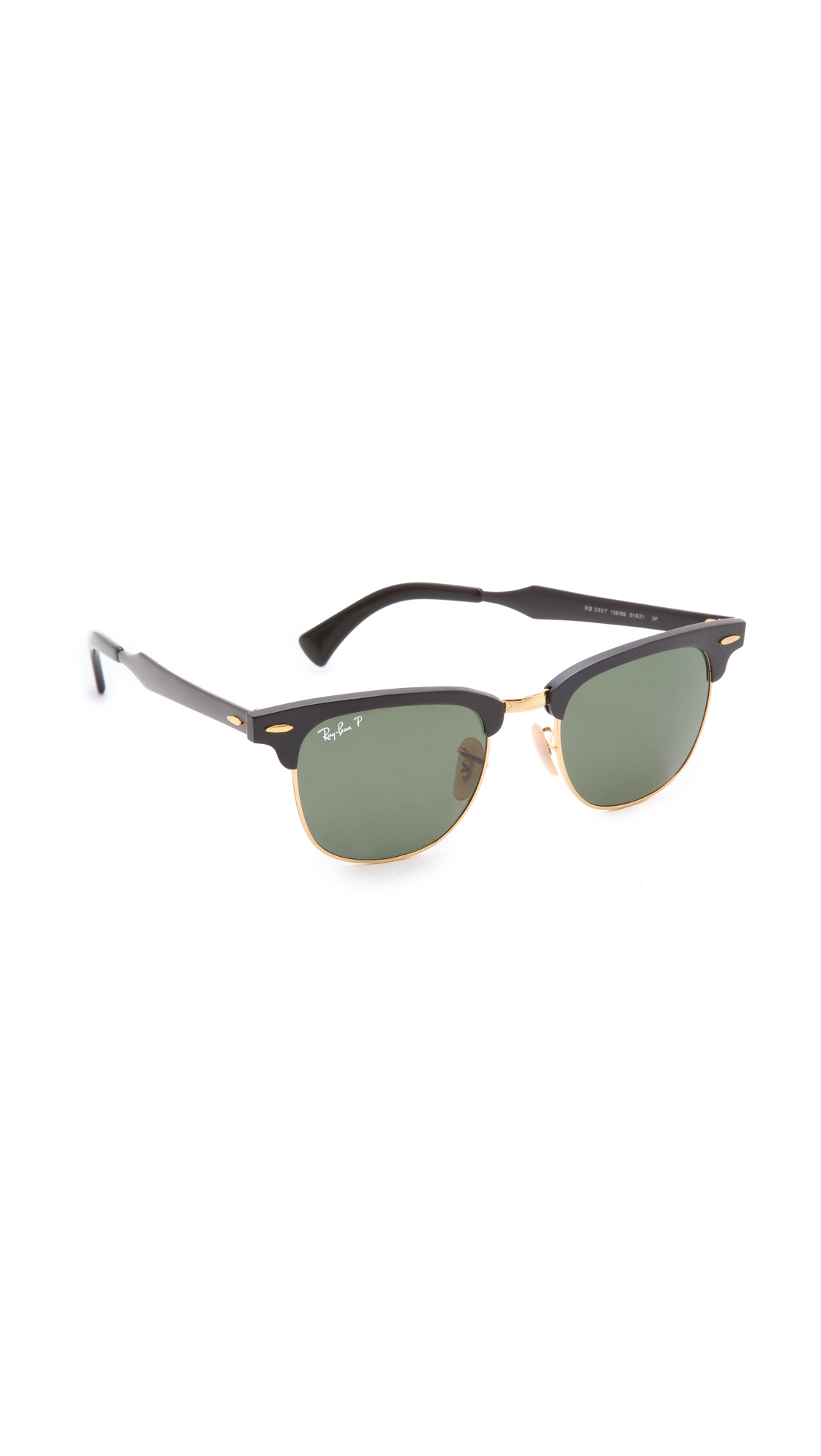 Ray Ban Oversized Two Tone Clubmaster Sunglasses In Black