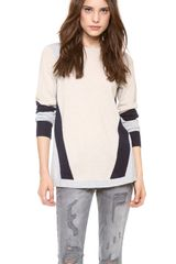 Rebecca Taylor Colorblock Intarsia Sweater - Lyst