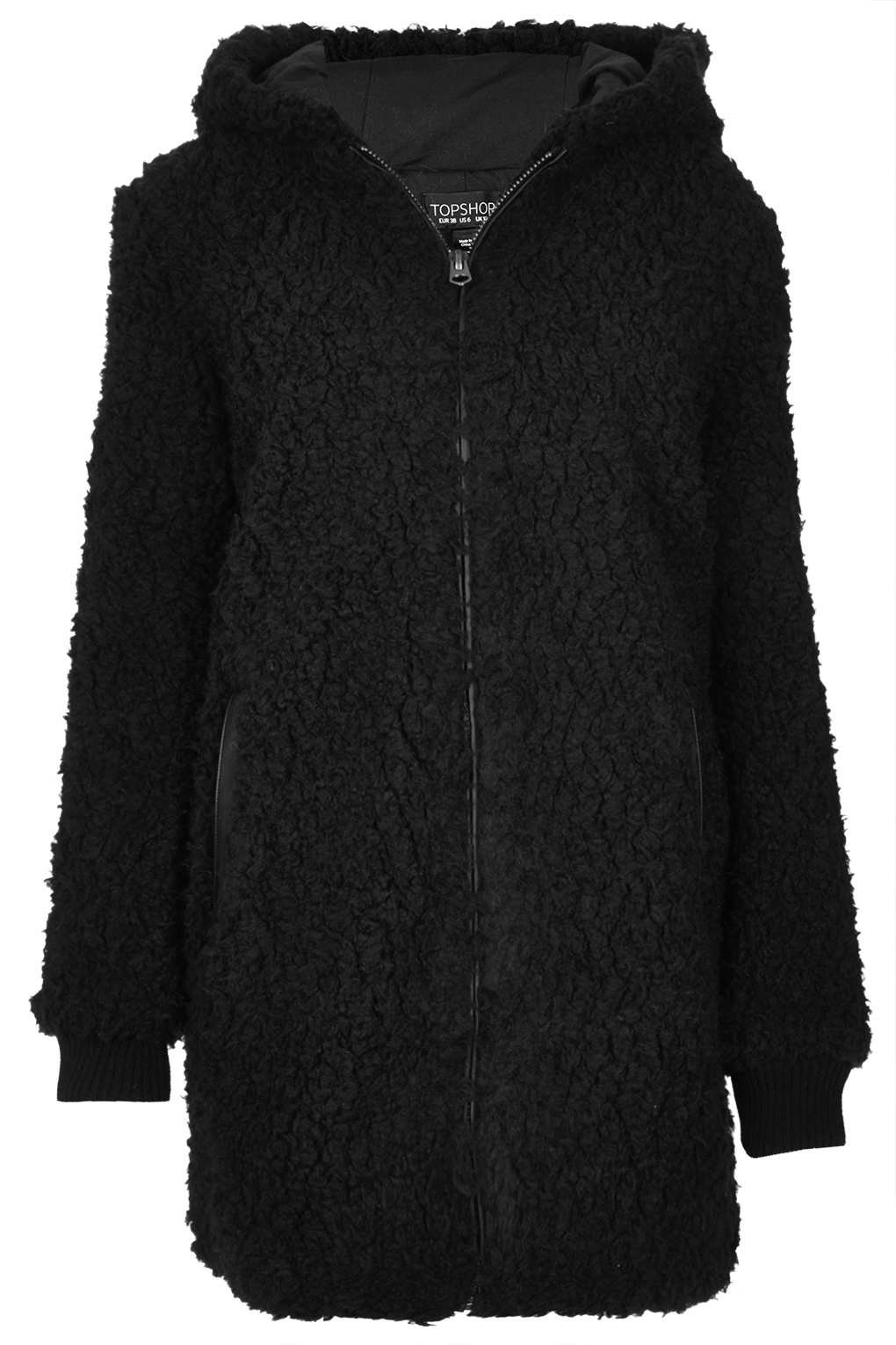 Topshop Hooded Borg Coat In Black Lyst