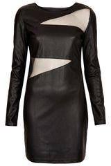 Topshop Jezzebell Pu and Mesh Dress - Lyst