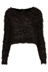 Topshop Knitted Sequin Fluffy Jumper - Lyst