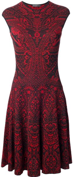 Alexander Mcqueen Lace Jacquard A Line Dress In Red Black