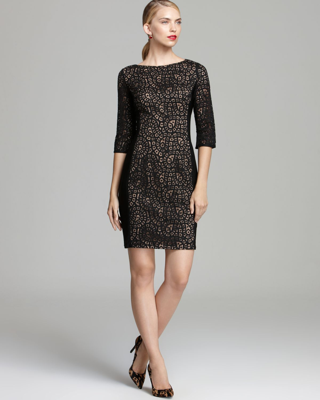 Anne Klein Lace Overlay Sheath Dress Elbow Sleeve In Black