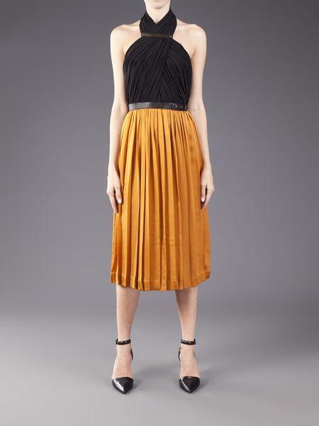 Catherine Deane Knife Pleat Dress In Brown Black Lyst