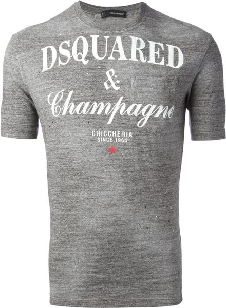 Dsquared2 Champagne Tshirt in Gray for Men (grey) - Lyst
