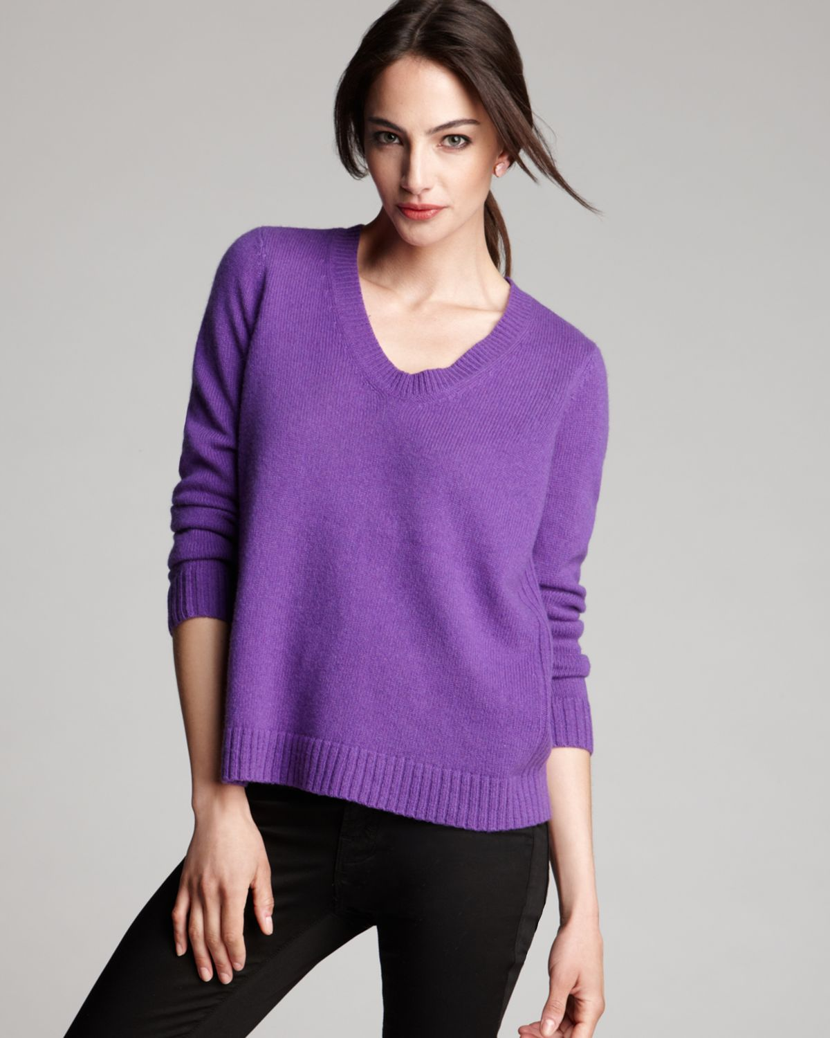 313d532d39f Lyst - Eileen Fisher Soft V Neck Box Top in Purple