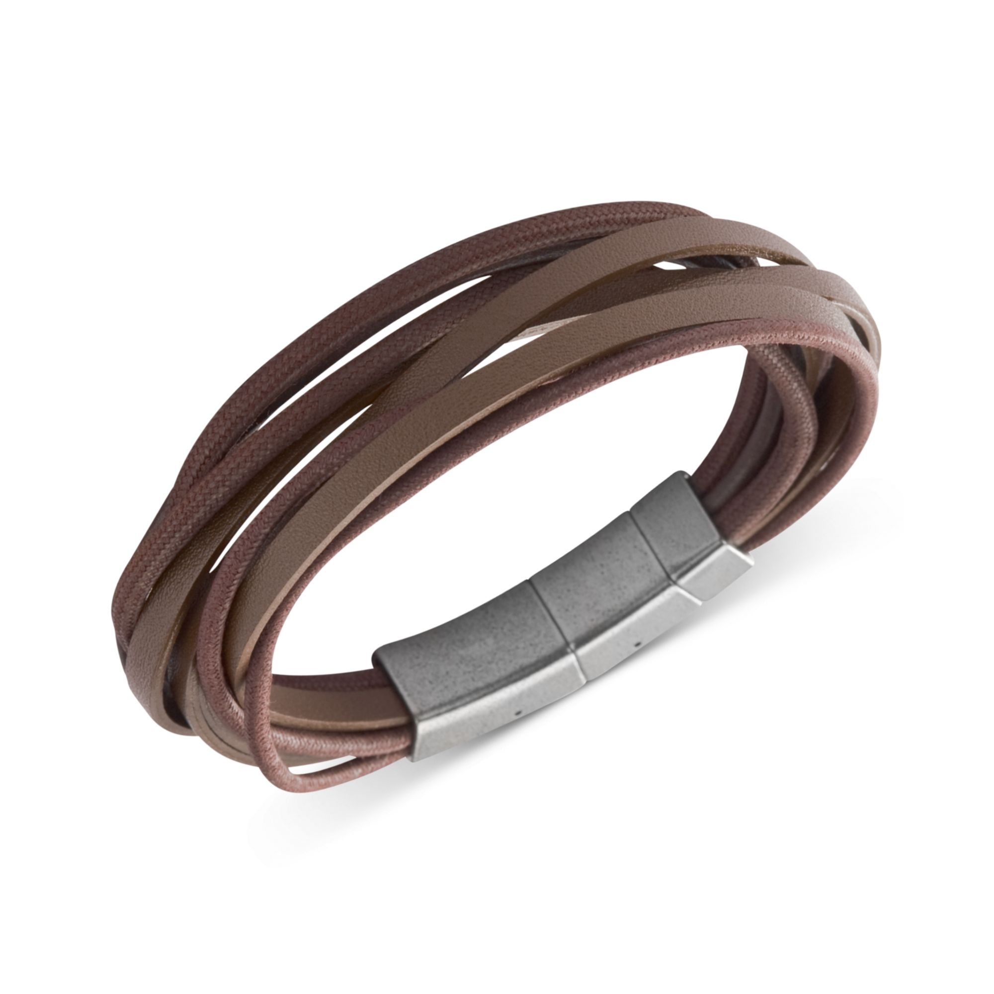 1cbc2c269 Fossil Stainless Steel Brown Leather Multistrand Wrap Bracelet in ...