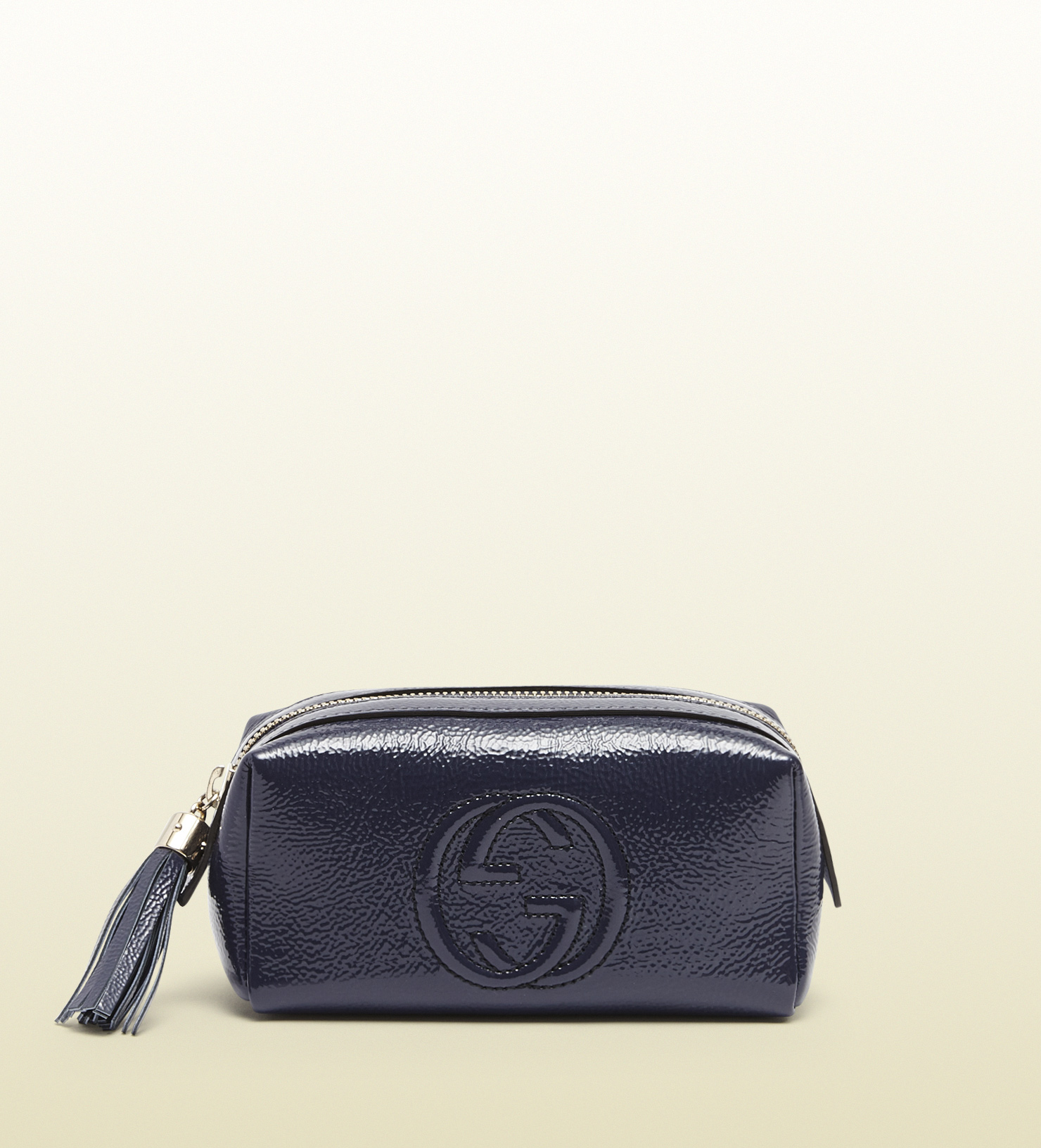 2b20ae1e69c4f8 Gucci Soho Patent Leather Cosmetic Bag in Blue - Lyst