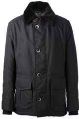 Hugo Boss Black Fur Collar Coat - Lyst