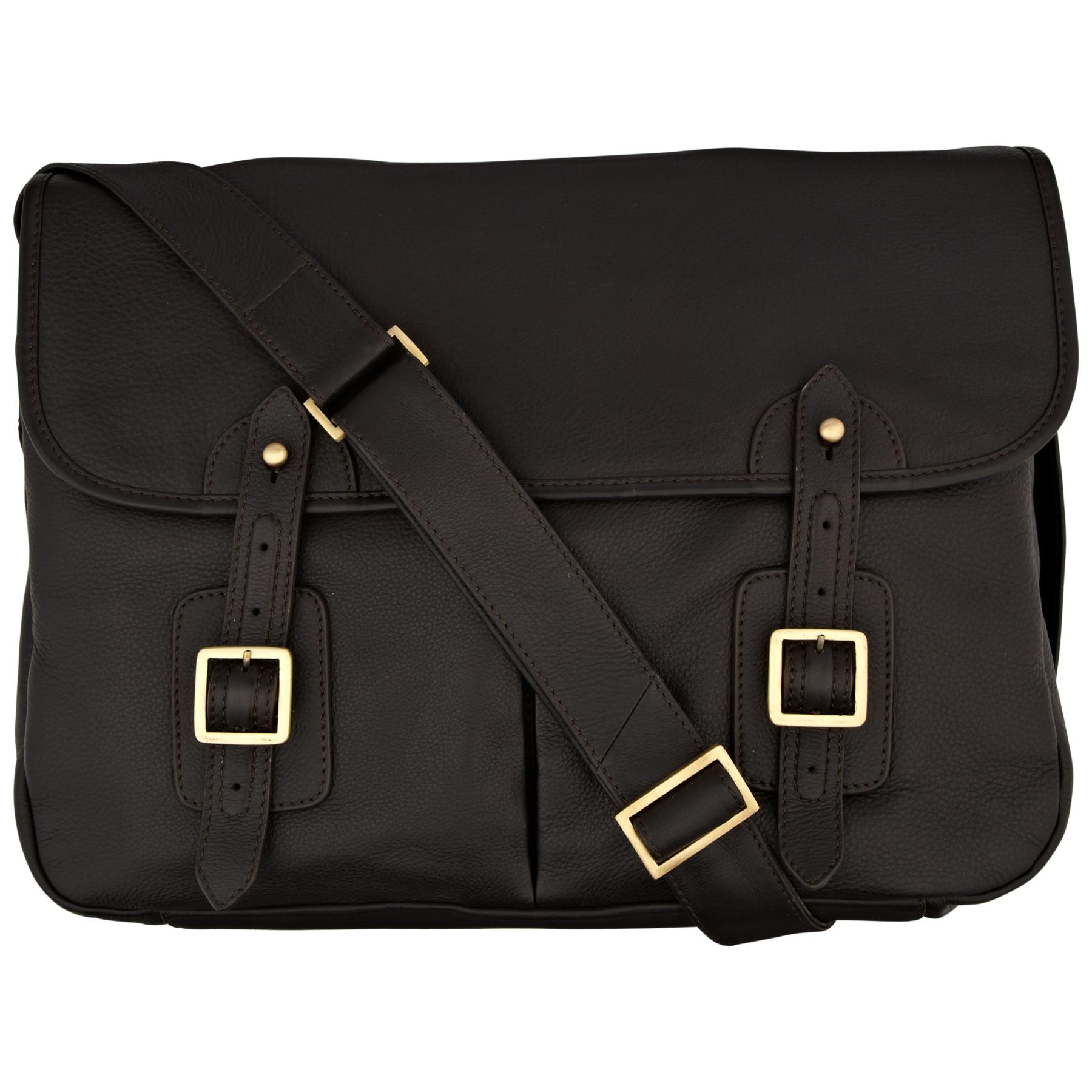 John Lewis Oxford Leather Messenger Bag In Brown For Men