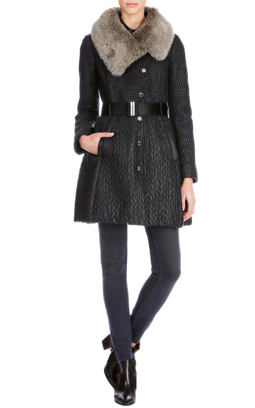 Karen millen black fur coat