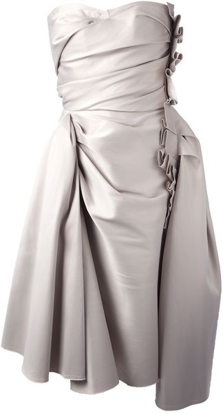 Lanvin Strapless Collapsing Dress - Lyst